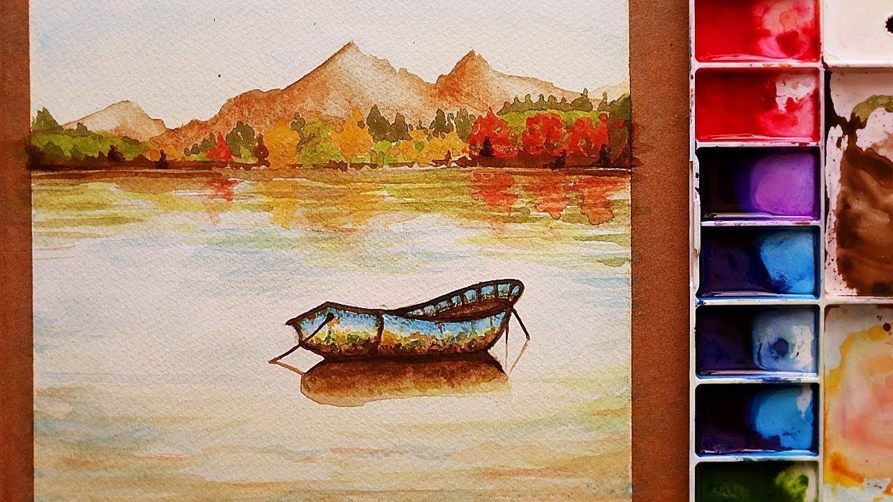 تعلم الرسم كيف ترسم منظر طبيعي بالالوان المائية بحيرة وقارب و