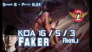 SKT T1 Faker AKALI vs IRELIA Top - Patch 8.24 KR Ranked