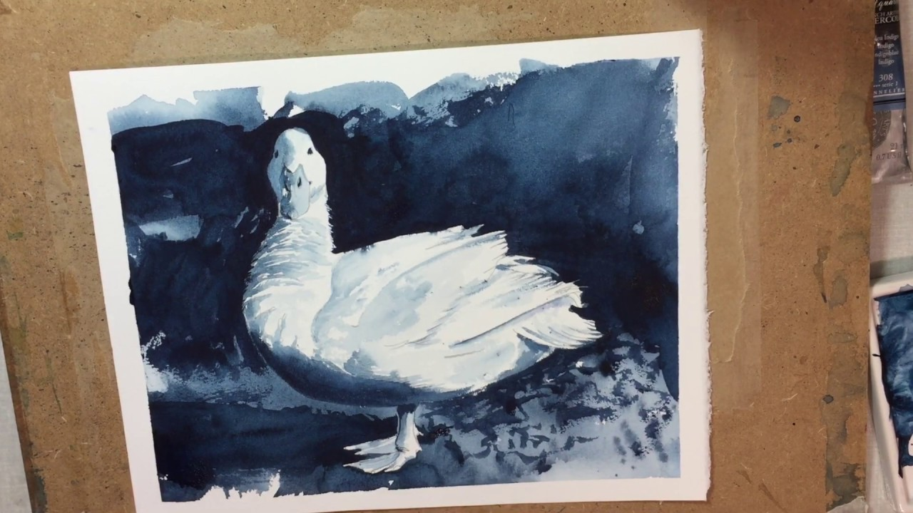 How to paint a watercolour of a duck