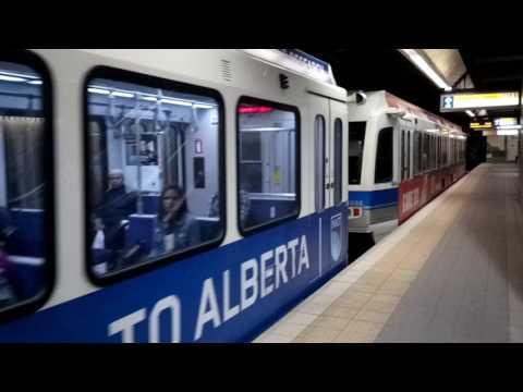 ETS LRT Action at Grandin Government Centre Station in Edmonton Alberta