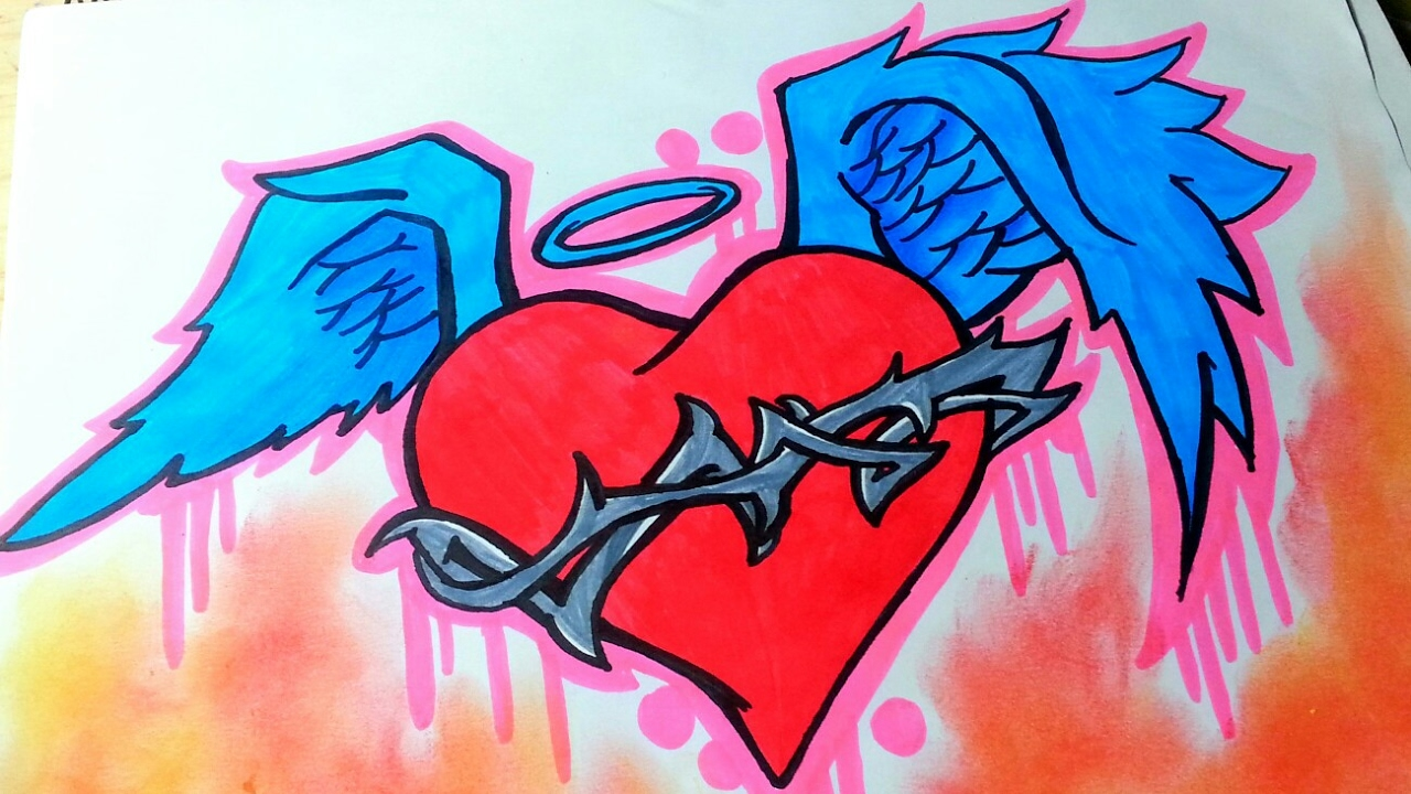 Como Dibujar Un Corazón Con Alas Speed Drawing Youtube