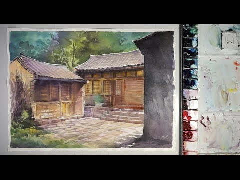 Chinese traditional house painting in Watercolor