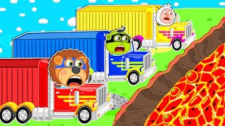 The Floor is Lava #2. Super Trucks | Lion Family | Cartoon for Kids