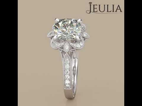 0877580aa3b357 Jeulia Vintage Flower Head Cushion Cut Created White Sapphire Engagement  Ring- Jeulia.com. Jeulia Jewelry