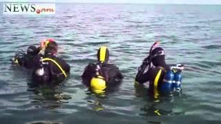 Divers at lake Sevan, Armenia