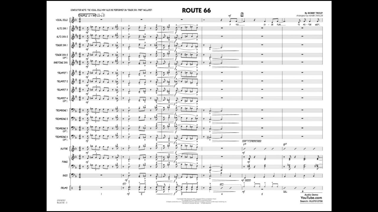 Route By Bobby Trouparranged By Mark Taylor YouTube - Route 66 youtube