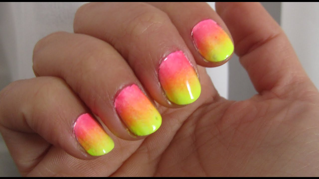 2 Esmaltes, 3 colores! UÑAS Degradé NEON | CosasCool - YouTube
