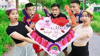 Squad SWAT Girl Nerf Guns Fight Criminal Robber Heart Birthday Cake Battle  Moon Nerf War