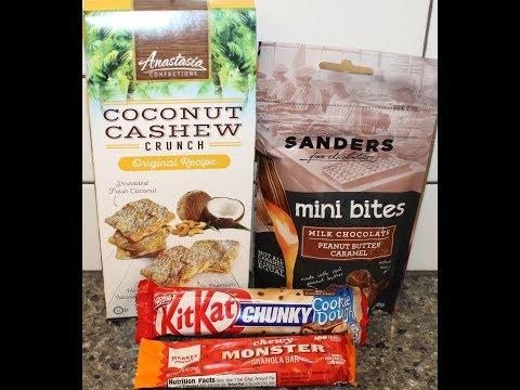 Cookie Dough Kit Kat, Anastasia Coconut Cashew, Sanders Peanut Butter Caramel, Monster Granola Bar