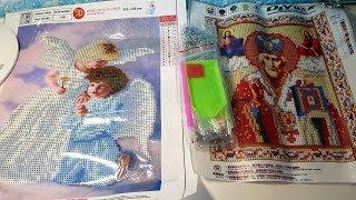 Алмазная вышивка из Китая. Икона Николая Чудотворца и Ангелочки. Обзор,цены, готовые работы.