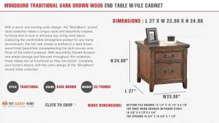 Ashley Woodboro Traditional Dark Brown Wood End Table With File Cabinet