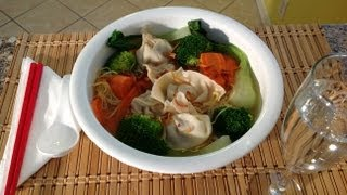 How To Make Wonton Soup Bok Choy Recipe-How To Make Chinese Pork Dumplings-Asian Food