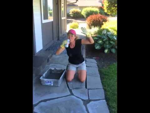 Diy Flagstone Mortar Removal And Repair Youtube