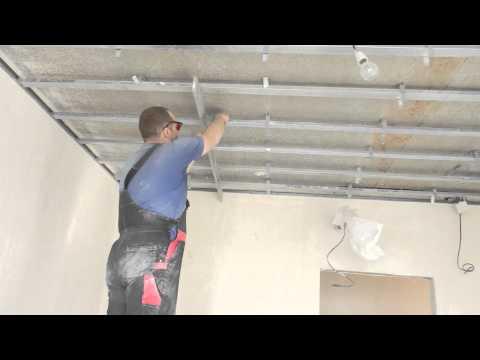 видео: Монтаж одноуровневого потолка из гипсокартона , часть2