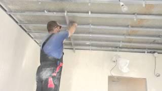 Монтаж одноуровневого потолка из гипсокартона , часть2