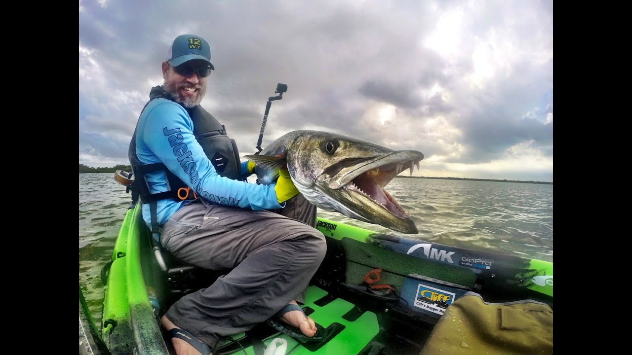 Monster cuda landed in a jackson kayak kilroy youtube for Fly fishing kayak