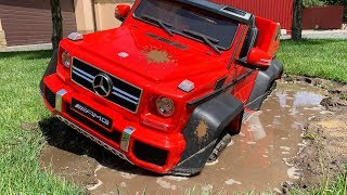 Power wheels Mercedes AMG 63 stuck in the mud - Dima go to car wash