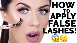 HOW TO APPLY FALSE EYELASHES FOR BEGINNERS!! | EASY & FAST!!!