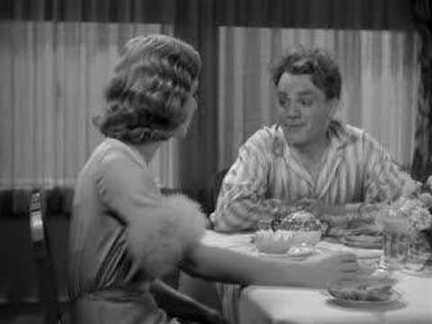 James Cagney smashes a grapefruit into Mae Clarke's face