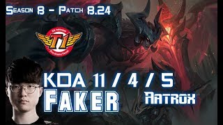 SKT T1 Faker AATROX vs IRELIA Mid - Patch 8.24 KR Ranked