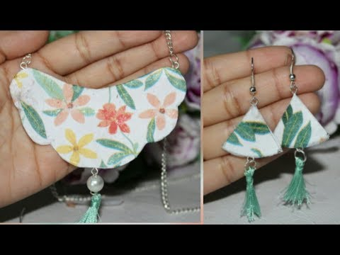 Trendy/Easy/Paper Jewelry Making/Decoupage/Necklace/Earrings..