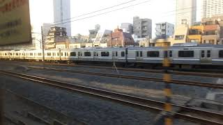 JR東日本E217系MT68 側面展望 市川→錦糸町(総武線快速) クラY-14編成