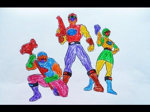 Bé tập tô màu ba anh em siêu nhân Gao