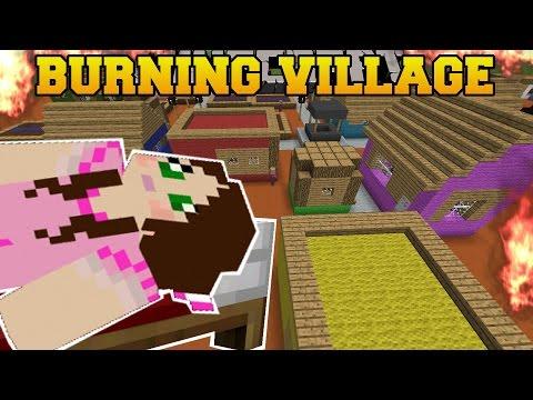 Minecraft: BURNING VILLAGE! (BUILD TO SURVIVE CHALLENGE!) Mini-Game