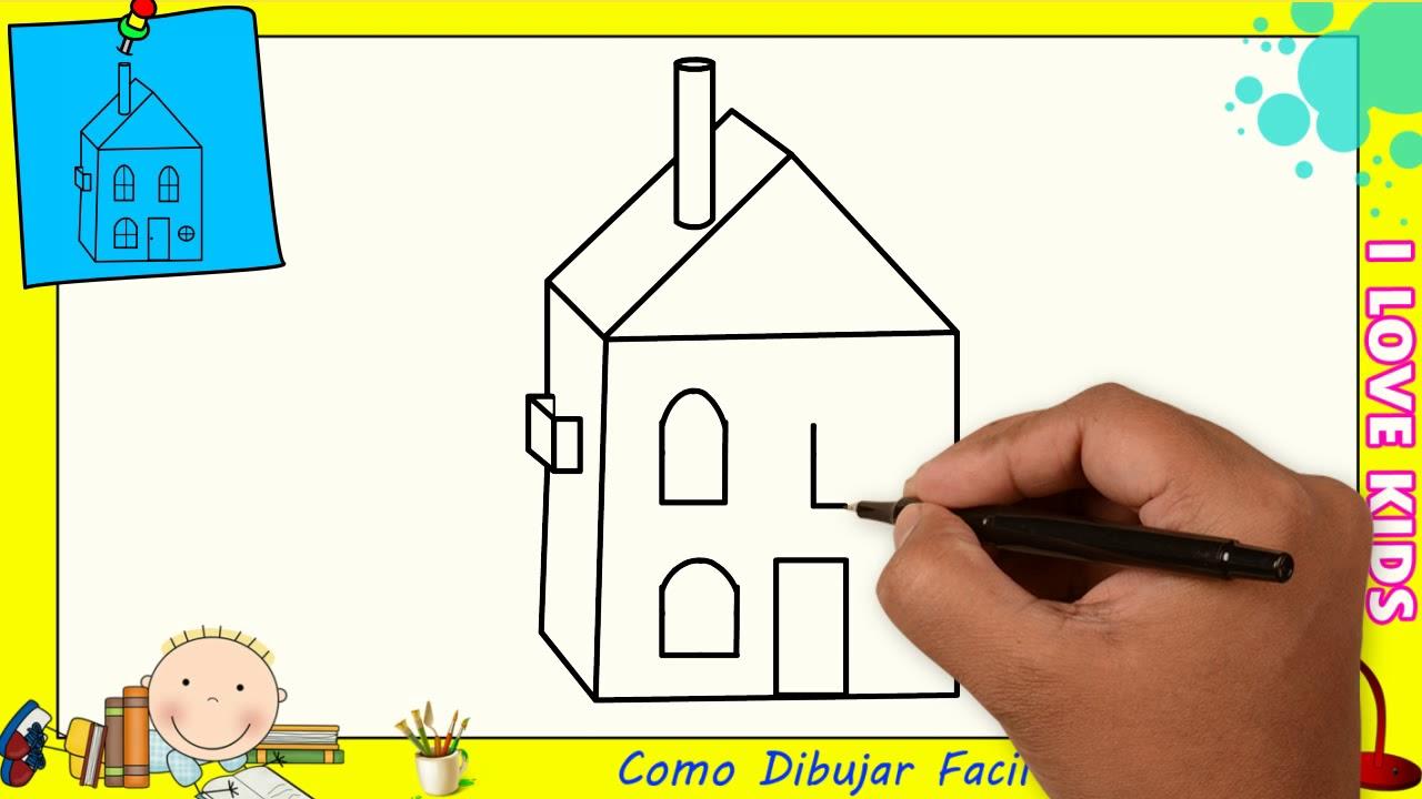 como dibujar una casa facil paso a paso para ni os y