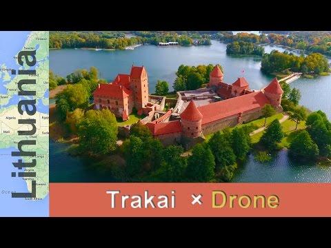 【リトアニア×ドローン空撮】湖畔に浮か�