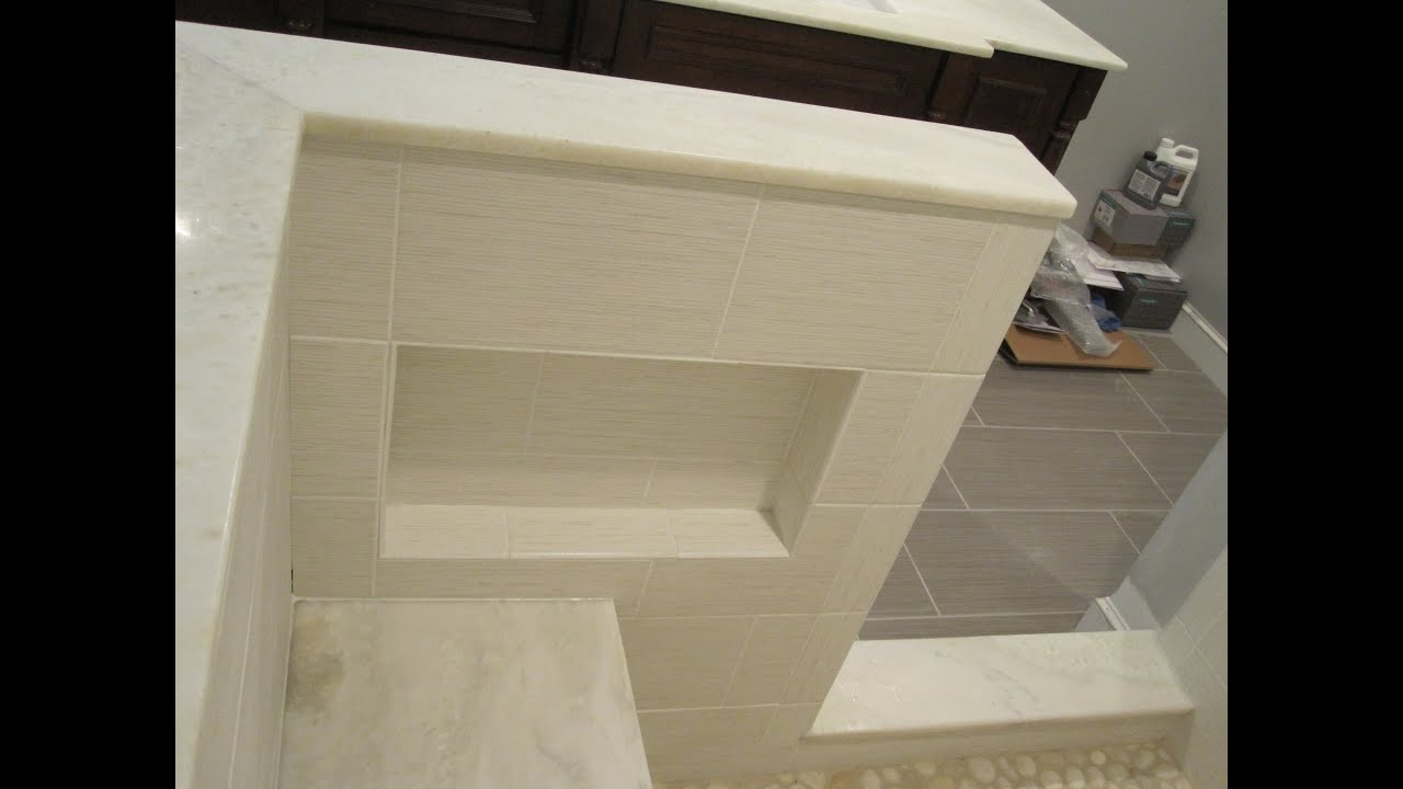 Ceramic Tile Master Bathroom Shower Stall Youtube