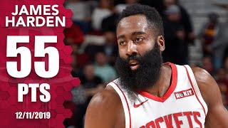 James Harden scores 55 points in road game for Rockets vs. Cavaliers | 2019-20 NBA Highlights