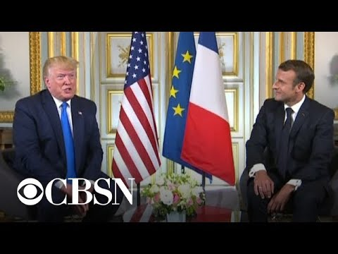 Trump, Macron meet at close of D-Day anniversary event