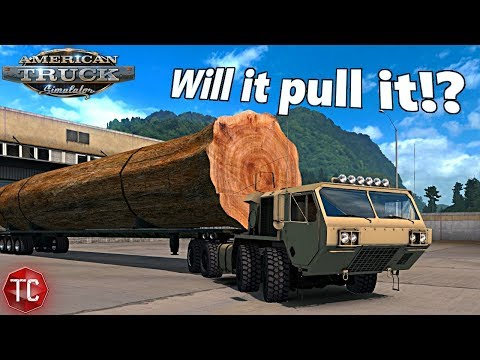 American Truck Simulator Mods: Can The Oshkosh 8x8 Pull a HUGE TREE?