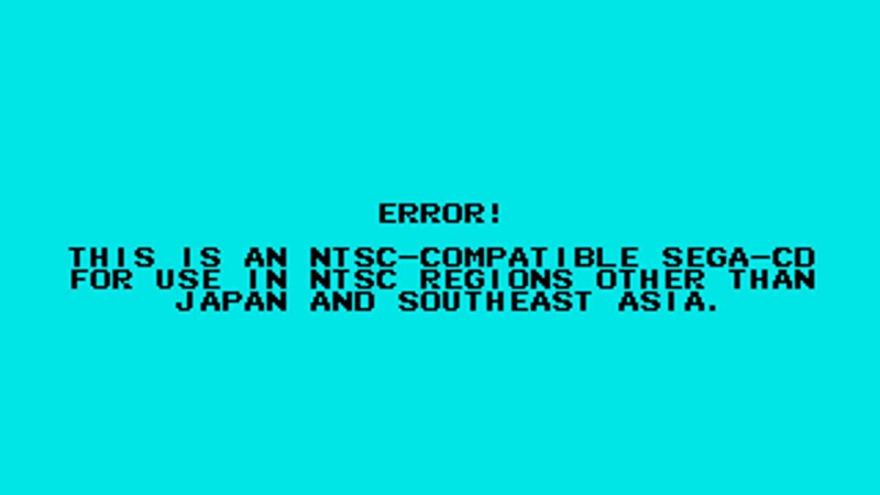 Sega CD BIOS: Region locking error messages