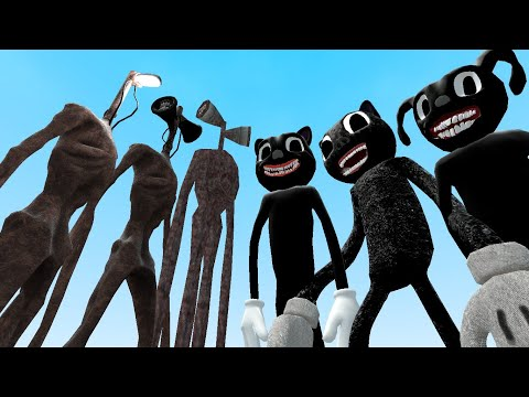 TEAM SIREN HEAD VS TEAM CARTOON CAT!! Garry's Mod [Siren Head Cartoon Cat Trevor Henderson] Gameplay