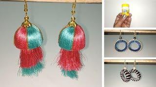 3 Handmade earrings designs/Best out of waste