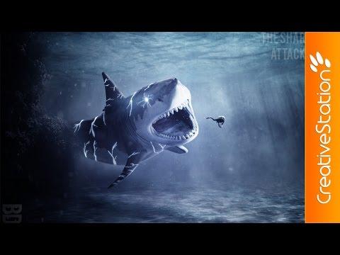 The Shark Attack - Speed Art (#GIMP)   CreativeStation