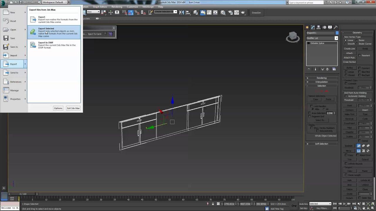 3D Max (3D) to AutoCAD (2D)