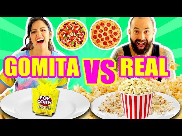 COMIDA DE GOMA VS REAL ft El Pipi! DULCE PARECE PULPO OH NO RETO SandraCiresArt Gummy Food Challenge