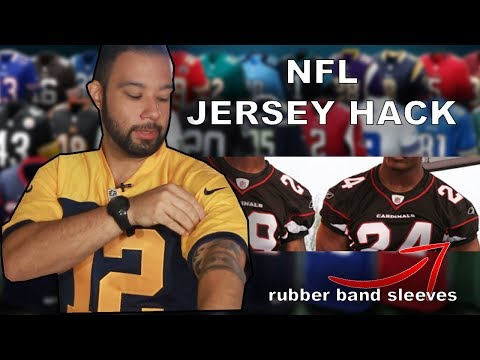 NFL Football Jersey Hack: Rubber band sleeves! (baggy sleeve fix)