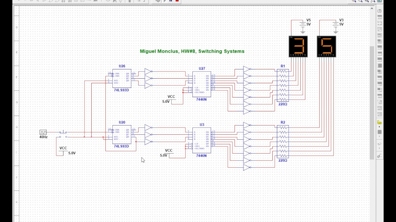 Octal Down Counter With Reset Button And Clock Impulse In Multisim 7 Segment Circuit Diagram