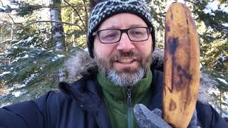 Pounding Nail with Frozen Banana at Minus 25F Northern Minnesota