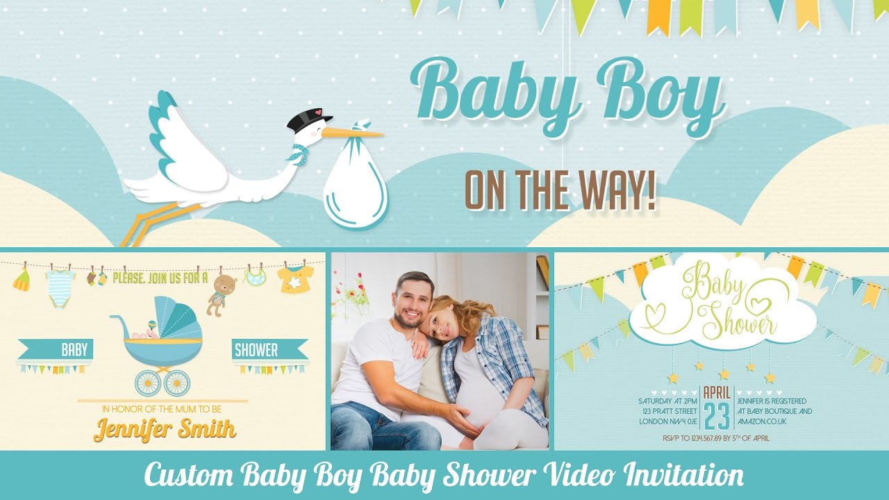 Baby Shower Invitation Boy Personalized With Photos