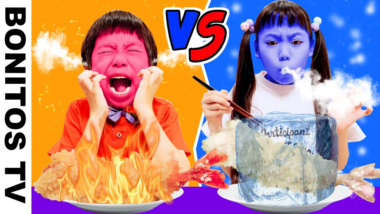 【対決】熱い!vs 冷たい!チャレンジ!HOT vs COLD FOOD CHALLENGE!!   ♥ -Bonitos TV- ♥