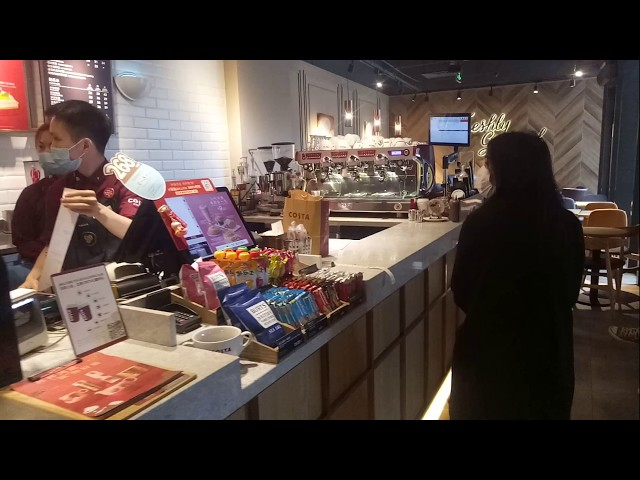 China During The Coronavirus Hygiene Protocol In Costa Coffee