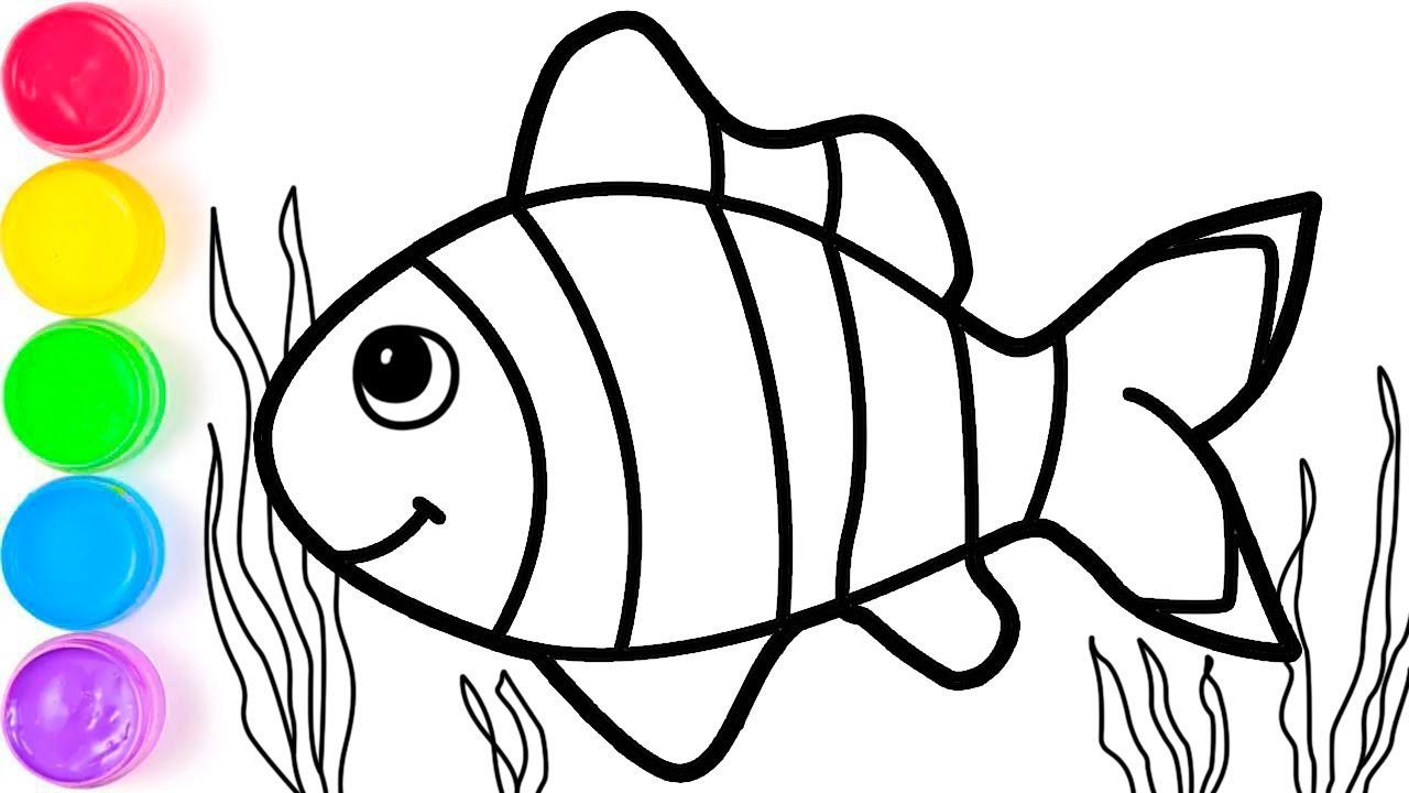 pelajari menggambar dan mewarnai ikan untuk anak
