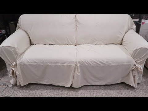 sure-fit-sofa-slipcover-review-designer-twill-relaxed-fit-unboxing-setup