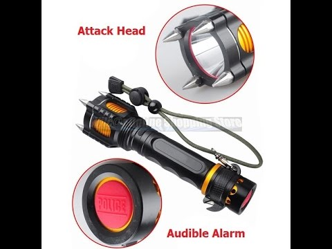 Military Grade Tactical LED Flashlight Attack Heads Alarm 2000LM TC1200 Style