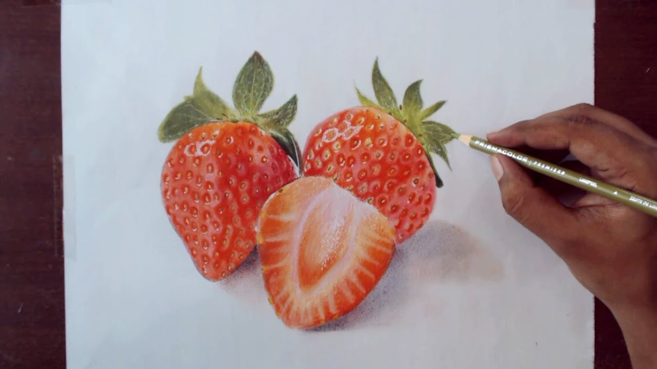 Uncategorized Drawing Of Strawberry drawing strawberry prismacolor pencils youtube
